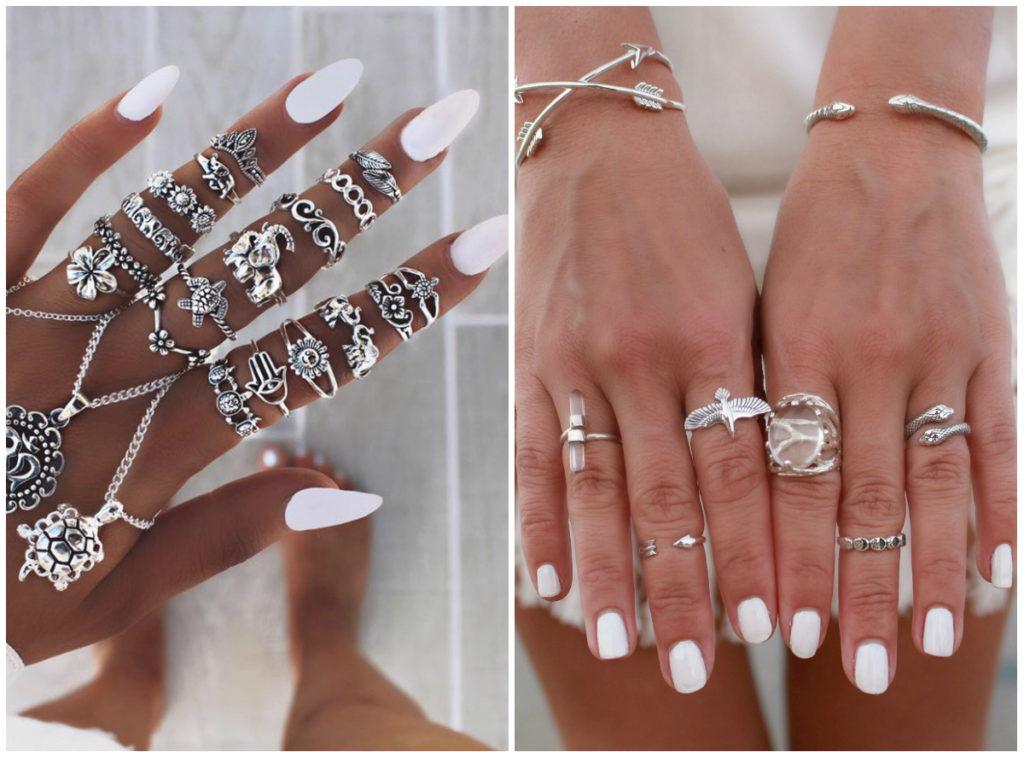 Безупречные белые ногти дизайн 2020 с разными аксессуарами