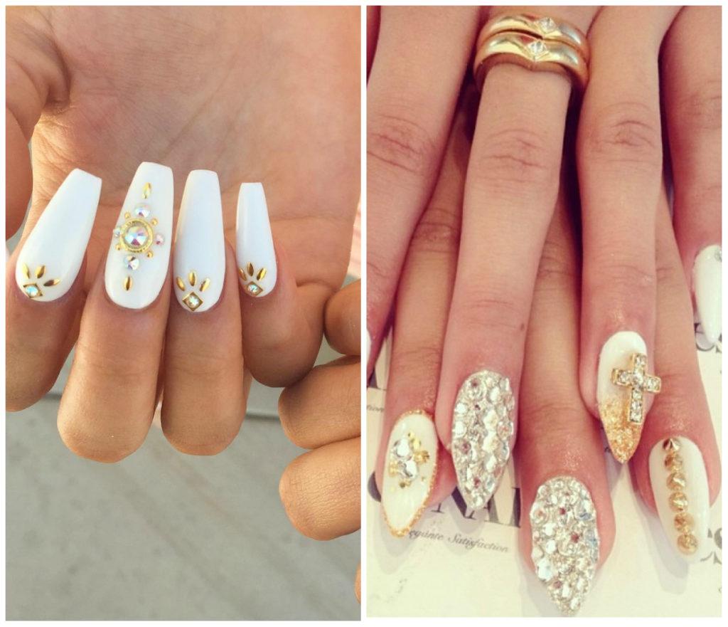 Белые ногти фото 2020, шипы и стразы на белых ногтях