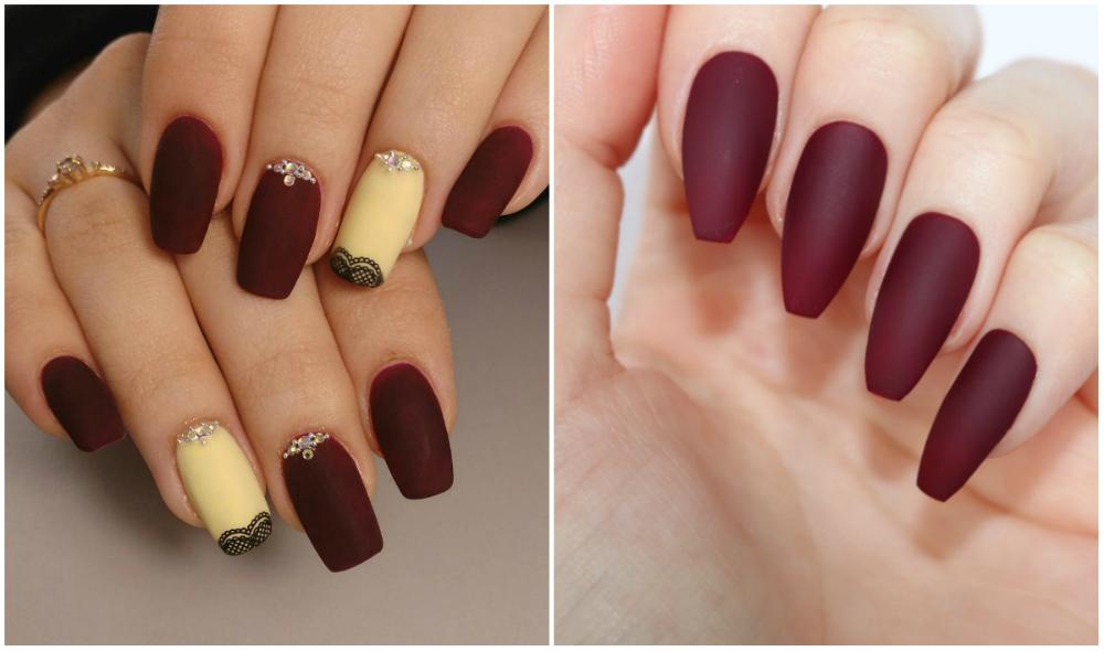 матовые и длинные ногти бордового цвета