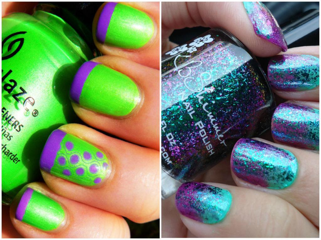 Фиолетовый и темно зеленый маникюр