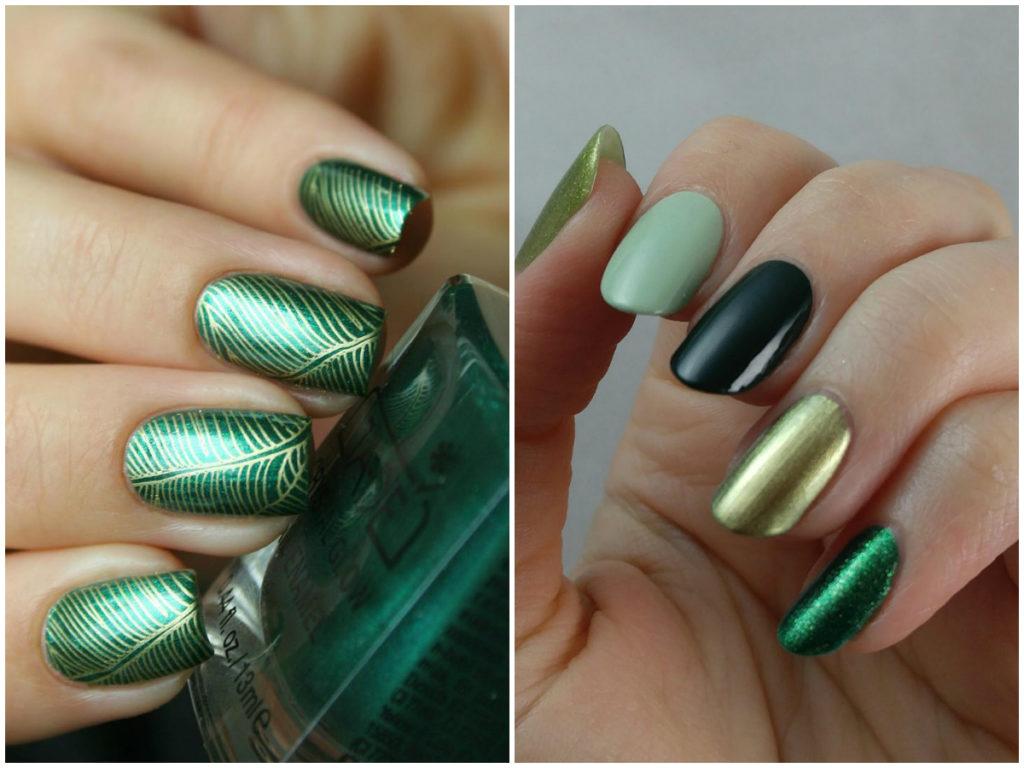 Золотой темно зеленый маникюр с разными оттенками