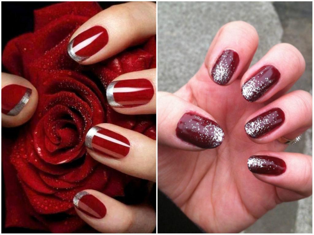 Красные ногти дизайн 2020 с короткой длиной и серебрянными блестками