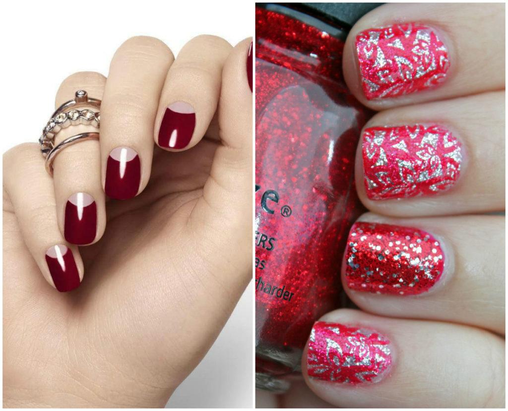 Серебрянные и красные ногти дизайн 2020
