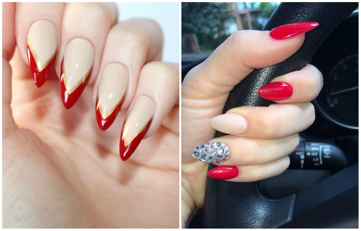 Дизайн ногтей красный со стразами и блестками