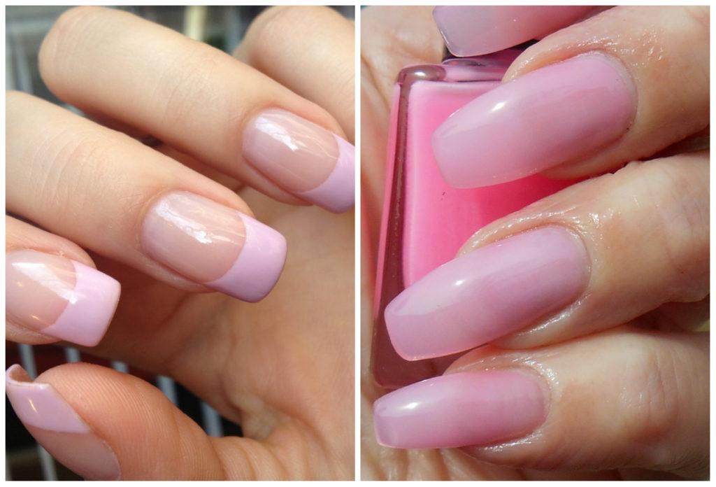 Прозрачные и французские розовые ногти 2018