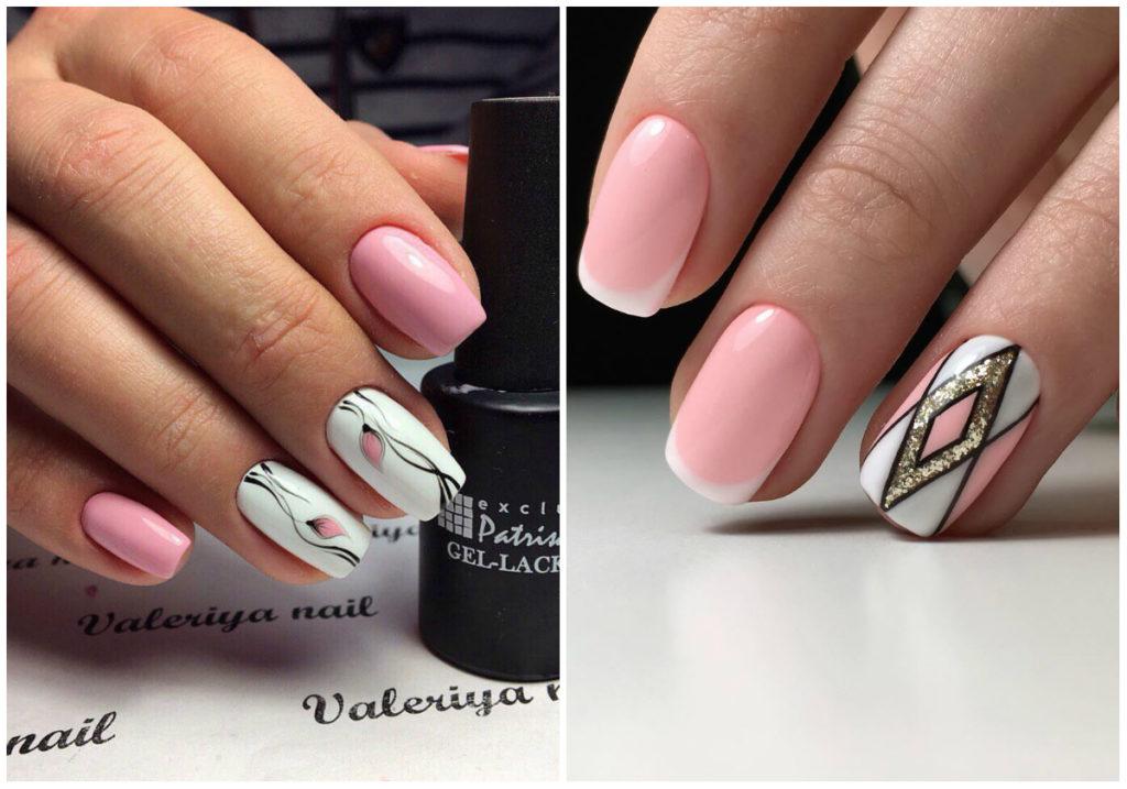 розовые ногти 2018 с узорами и изображениями