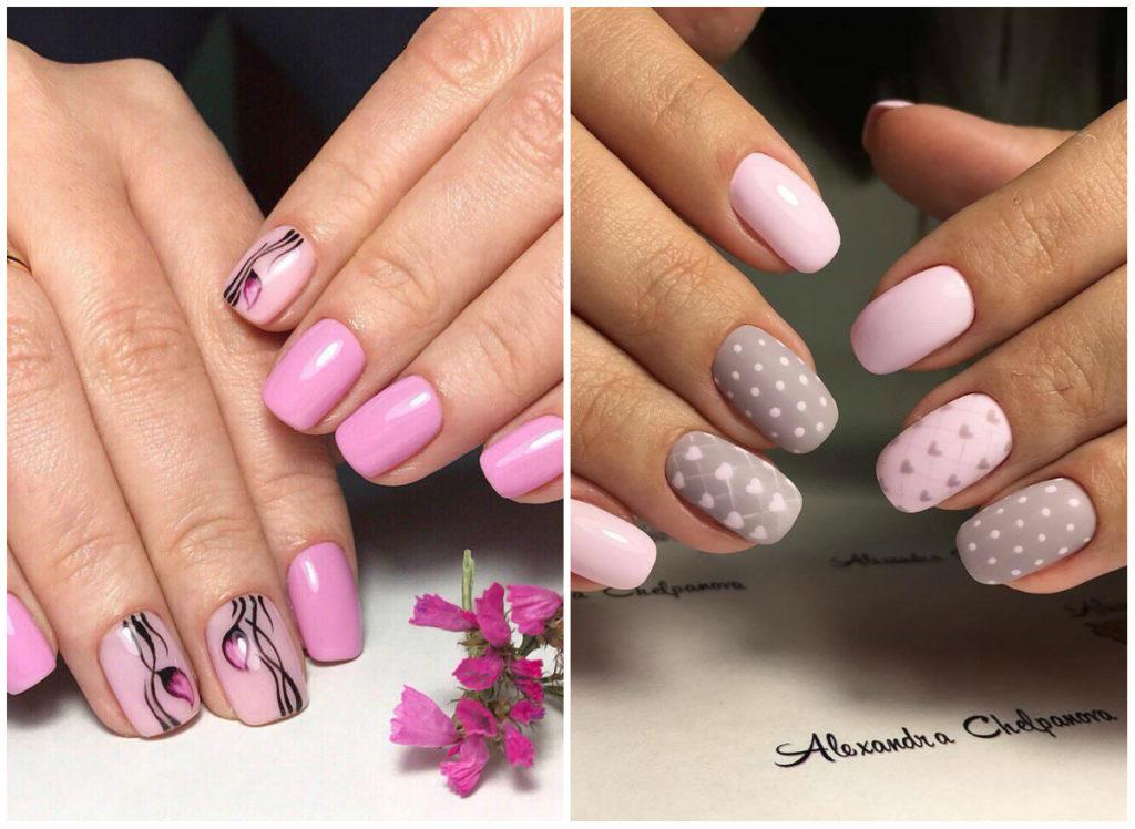 розовые ногти 2018 с цветочками и точками