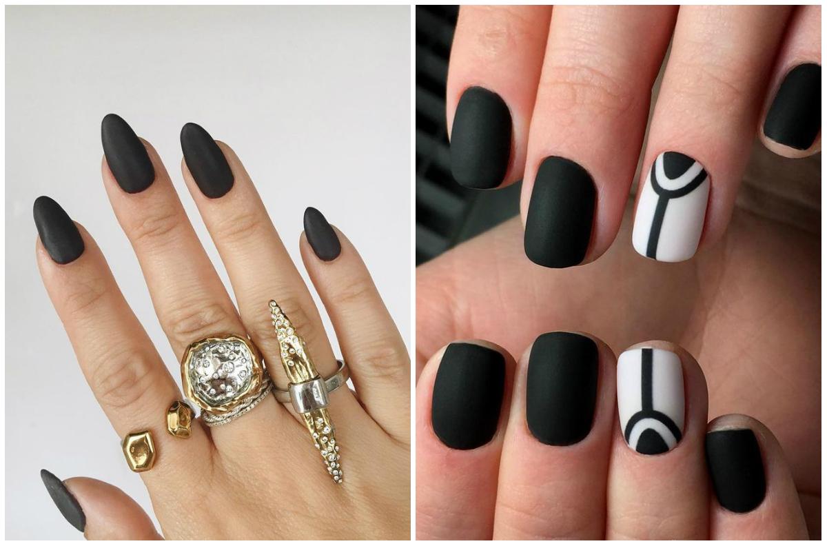Ногти дизайн в черном цвете