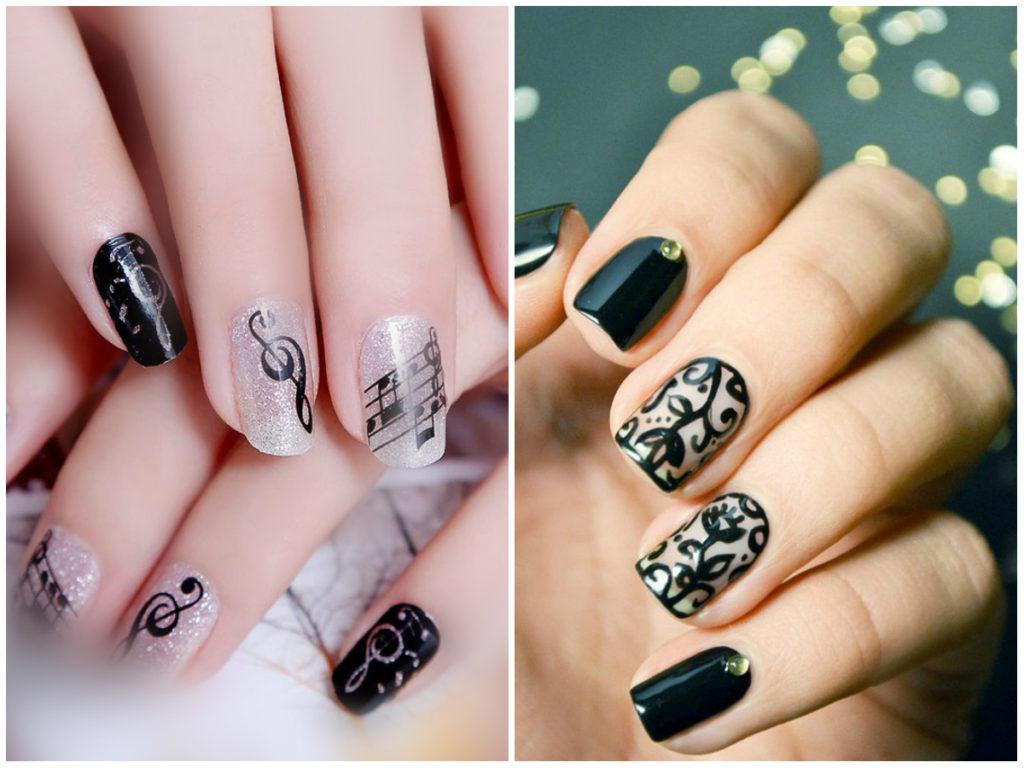 Дизайн черных ногтей с разными стикерами и изображениями 2018 фото