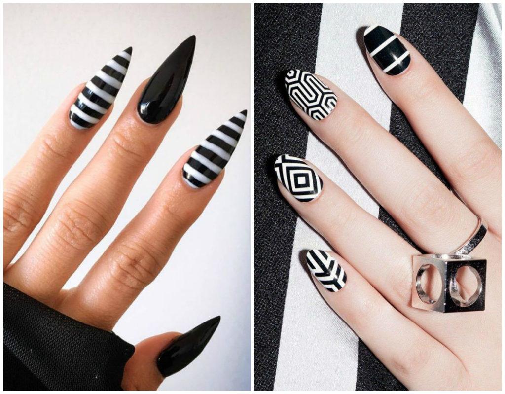 Дизайн черных ногтей 2018 в полосках разных размеров и сложности