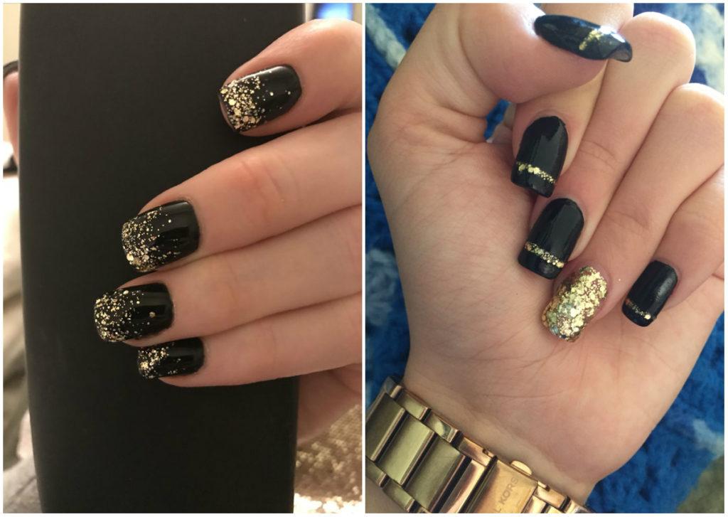Дизайн черных ногтей 2018 фото с серебраянными и золотистыми оттенками