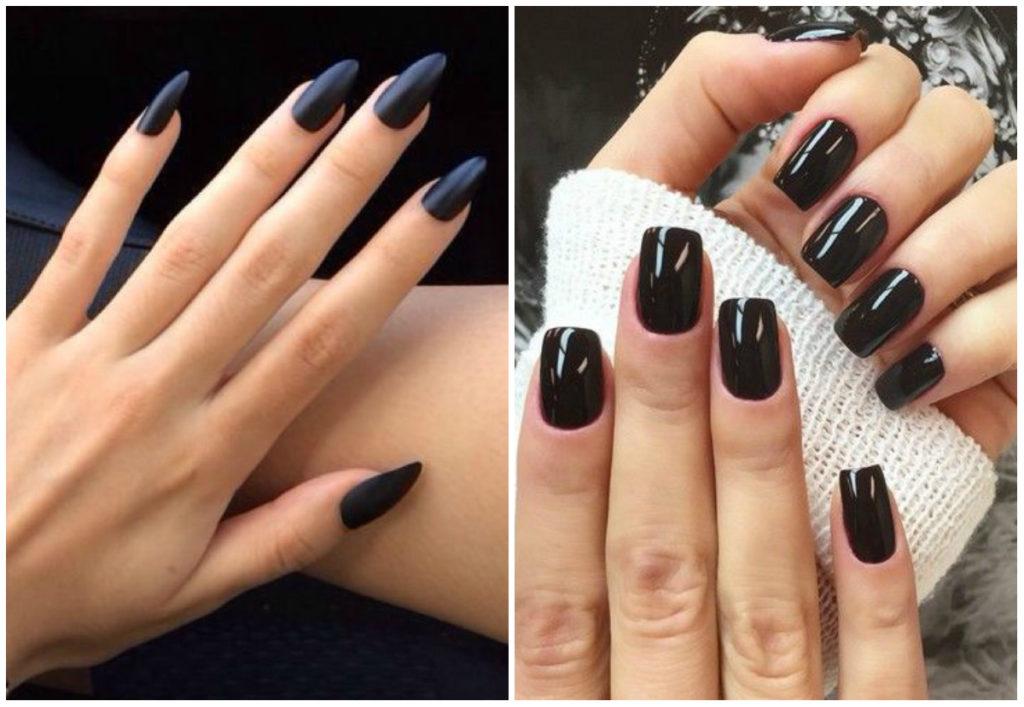 Черный дизайн ногтей 2018, новые тренды для разных видов ногтей