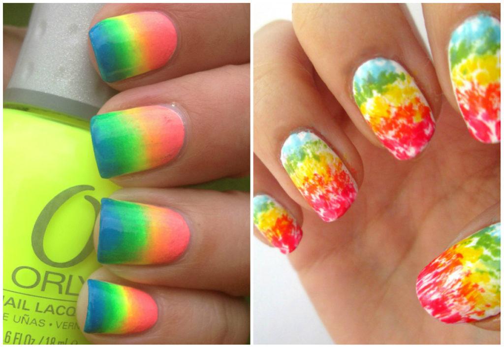 Радужные и разноцветные ногти омбре 2020