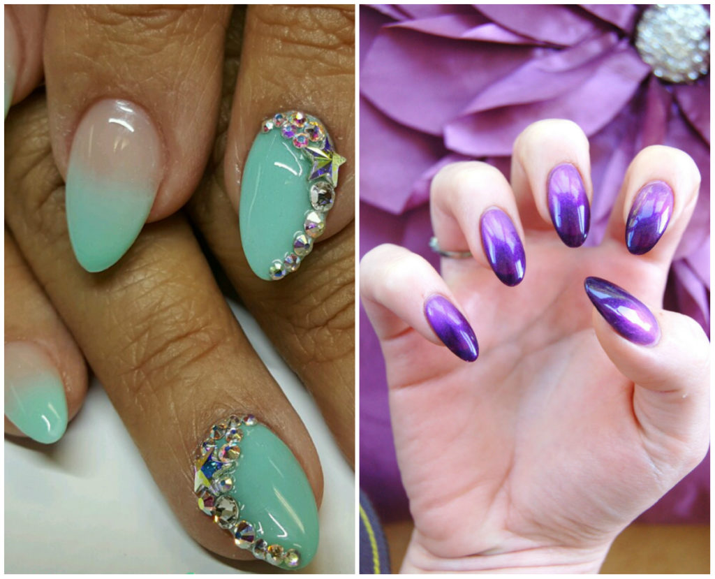 Пурпурные и мятные ногти омбре 2020