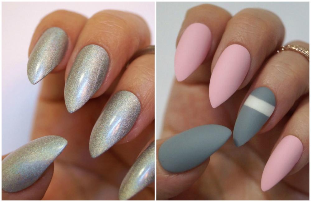 Минадальные длинные ногти серого цвета