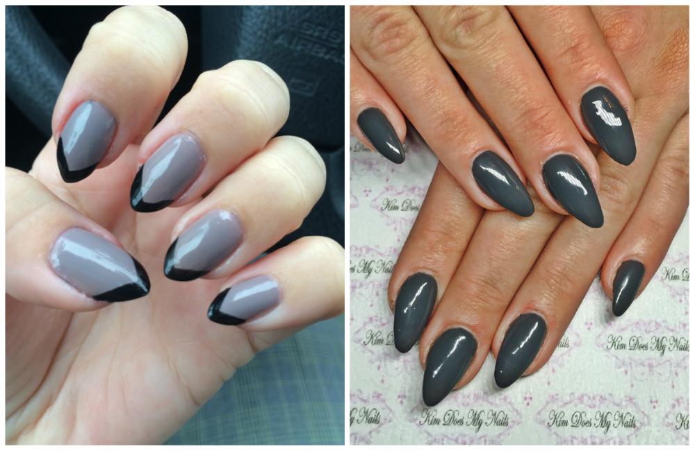 ногти серого цвета с оттенком черного