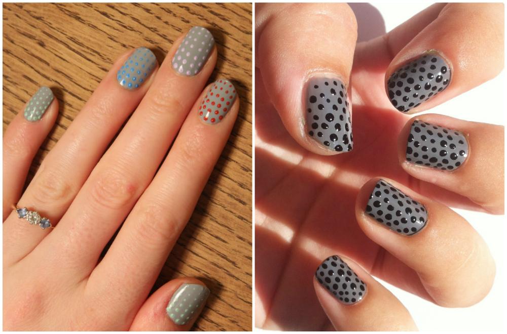 ногти серого цвета с тёмными точками