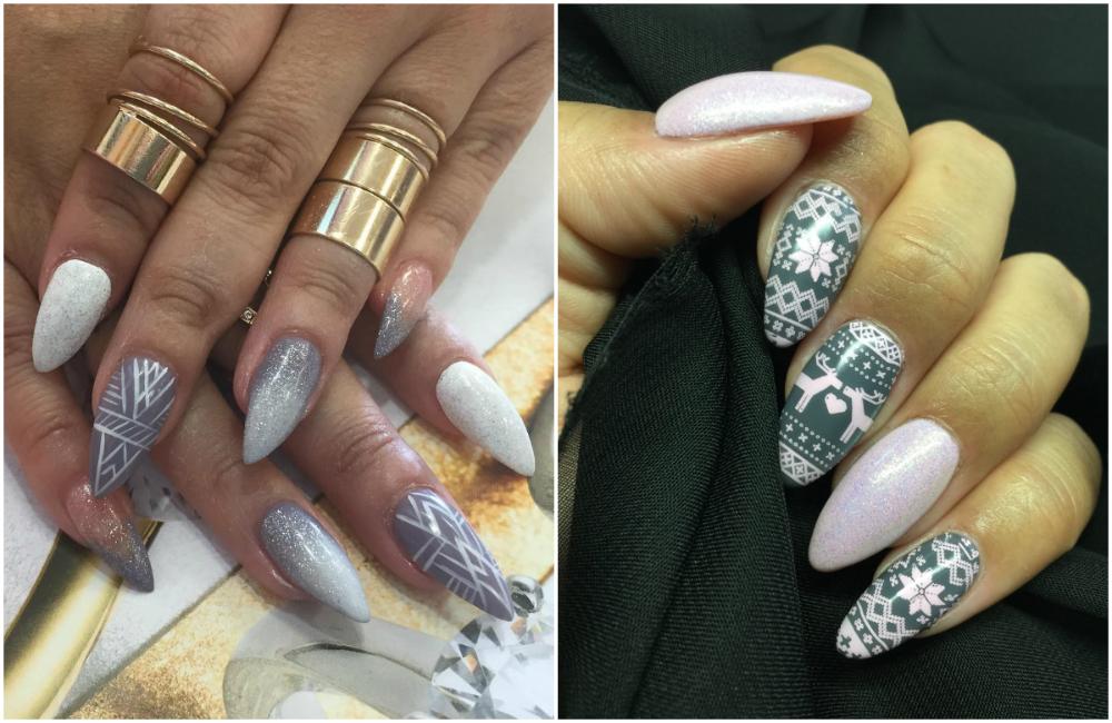 Длинные и красивые ногти серого цвета