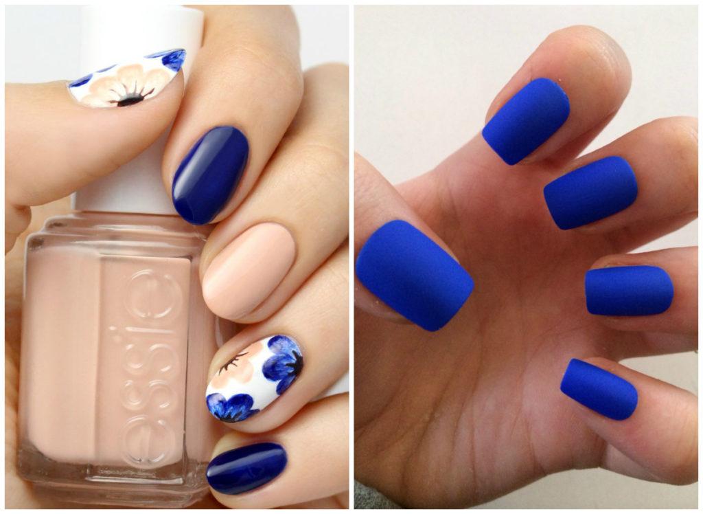 Матовые и цветочные синие ногти 2018