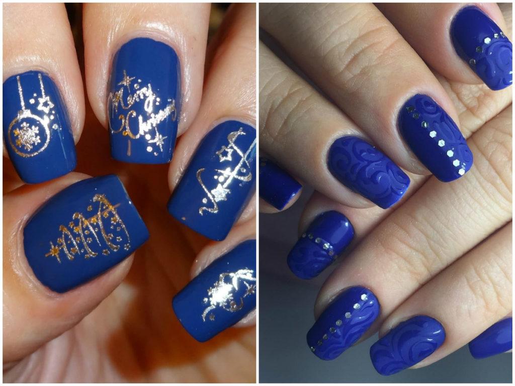 синие ногти 2018 разного типа и образа