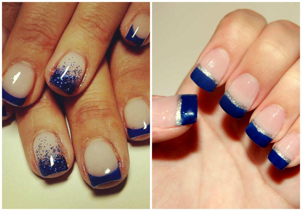 Французские неординарные синие ногти 2018