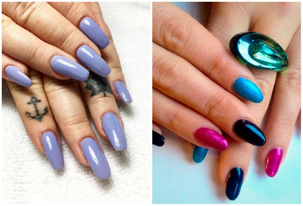 Разноцветный, красивый маникюр ногтей шеллак
