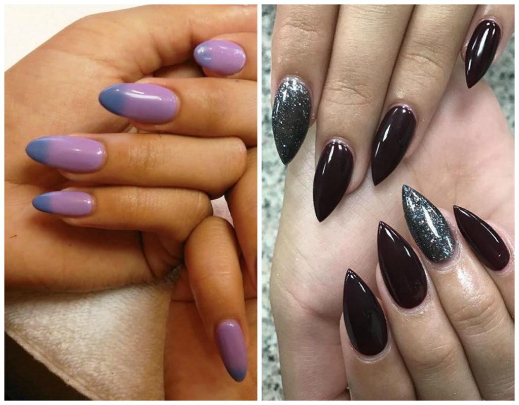 Пурпурные и чёрные миндальные ногти дизайн 2020
