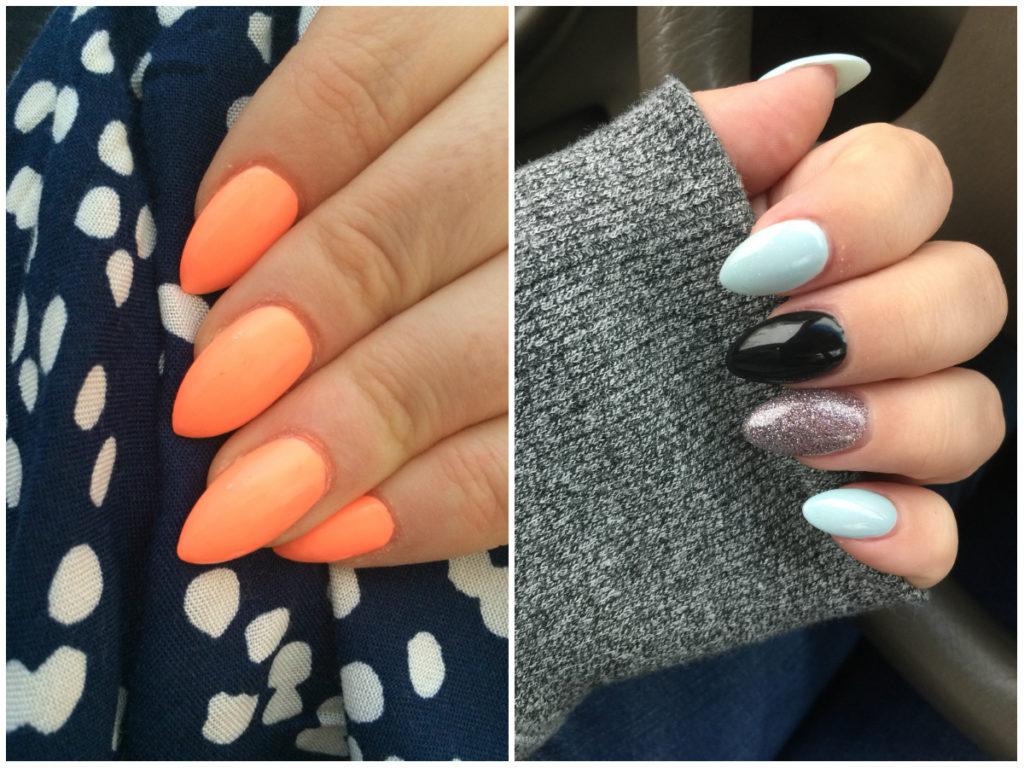 Оранжевые и сверкающие ногти 2020 миндальной формы