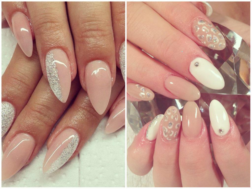 Белые и бежевые ногти 2020 миндальной формы с блестками
