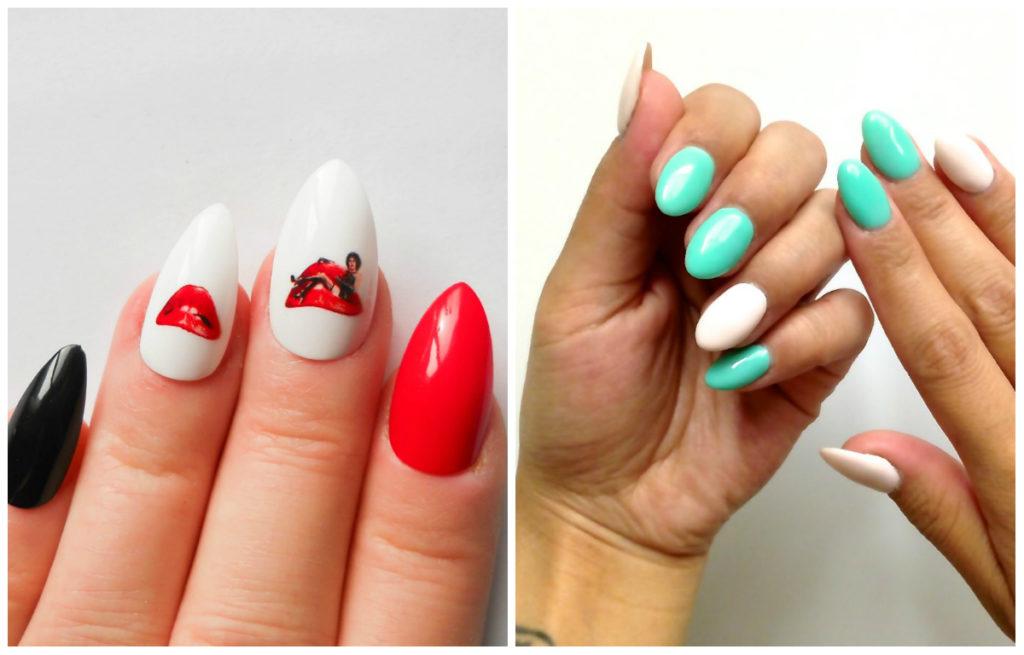 Креативные и разноцветные миндальные ногти дизайн 2020