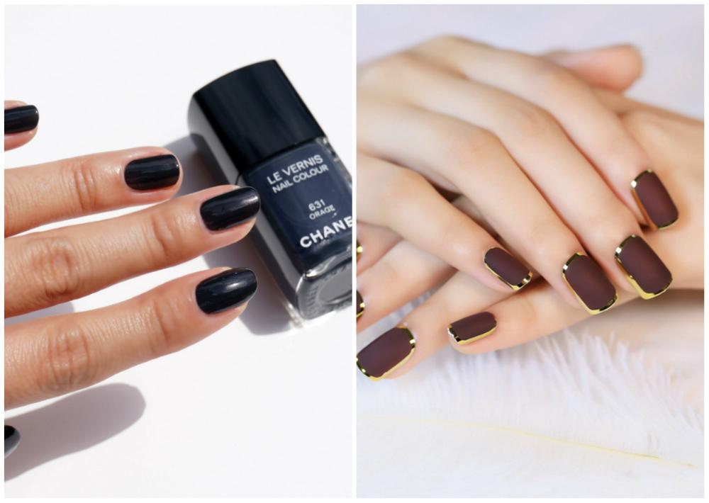 Шоколадные и сливовые темные ногти 2018