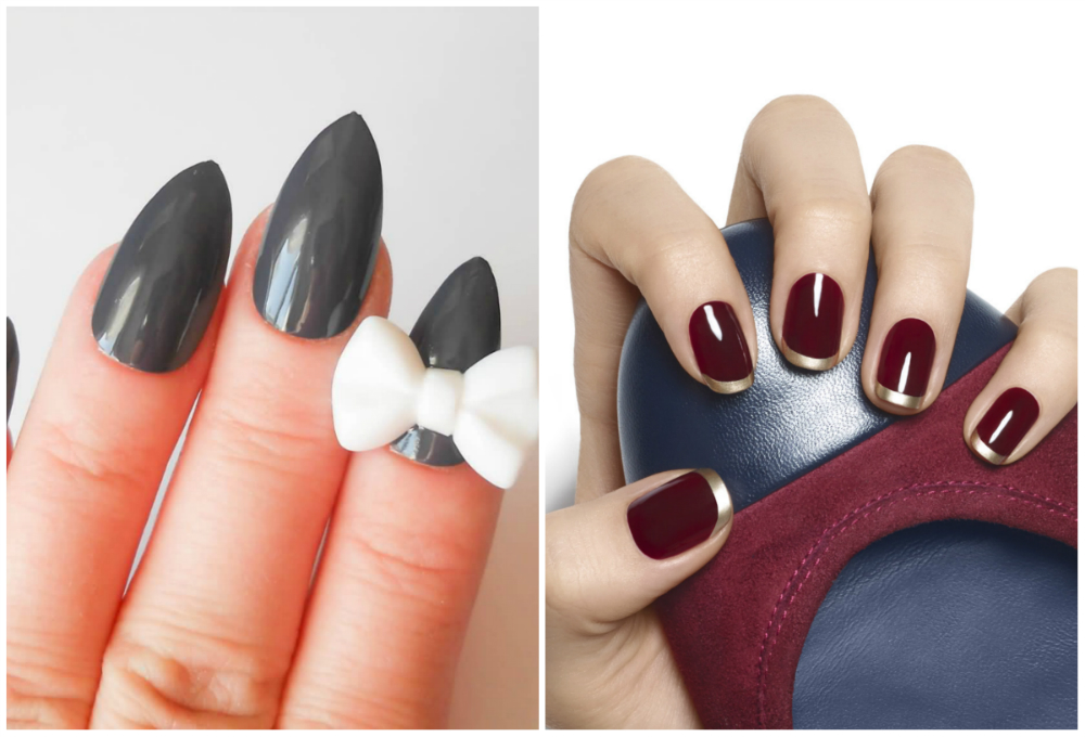 Серые и бордовые темные ногти 2018