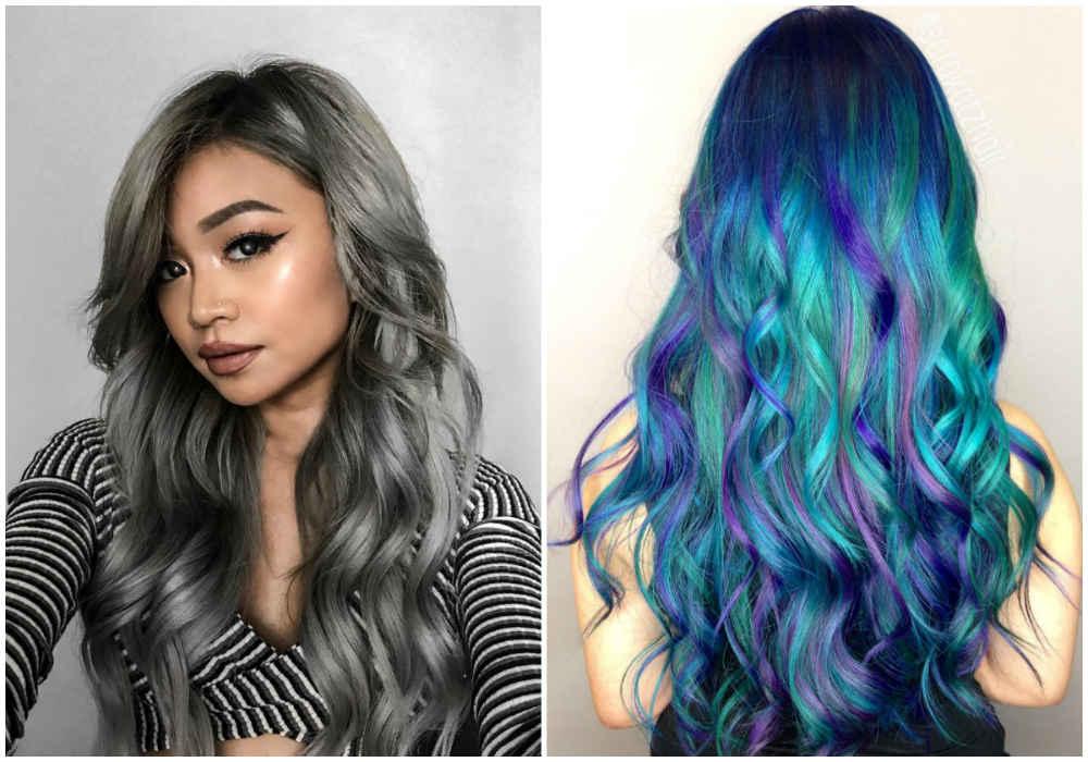 Стрижки на волнистые волосы с разными оттенками и цветами