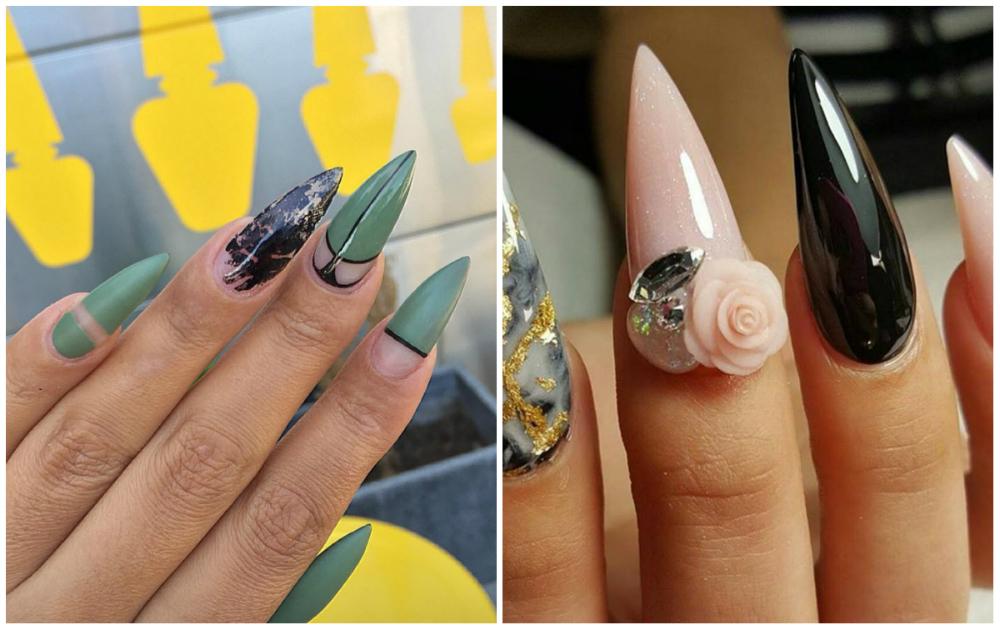 Разноцветный и интересный дизайн длинных ногтей
