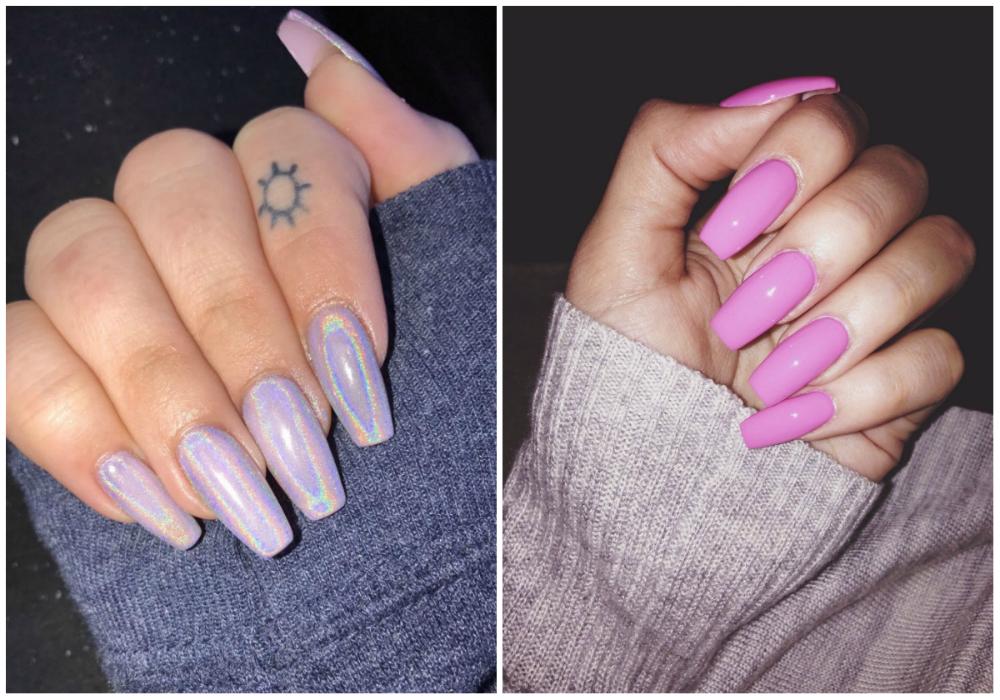 Розовый и стильный дизайн длинных ногтей