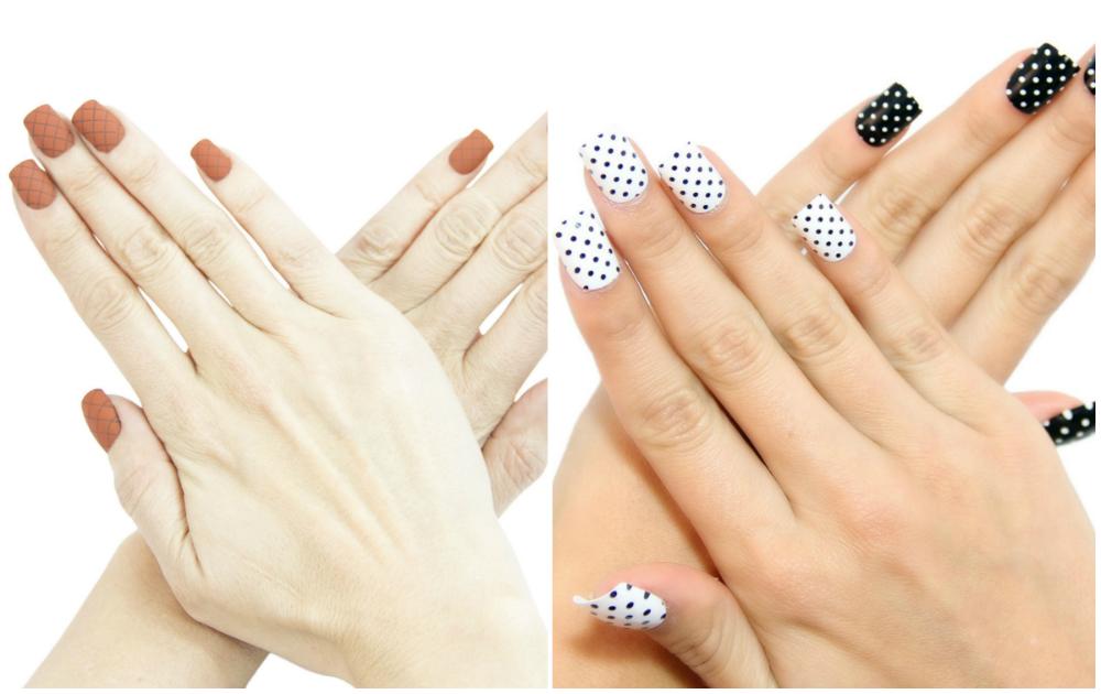 Белые и черные квадратные ногти 2018