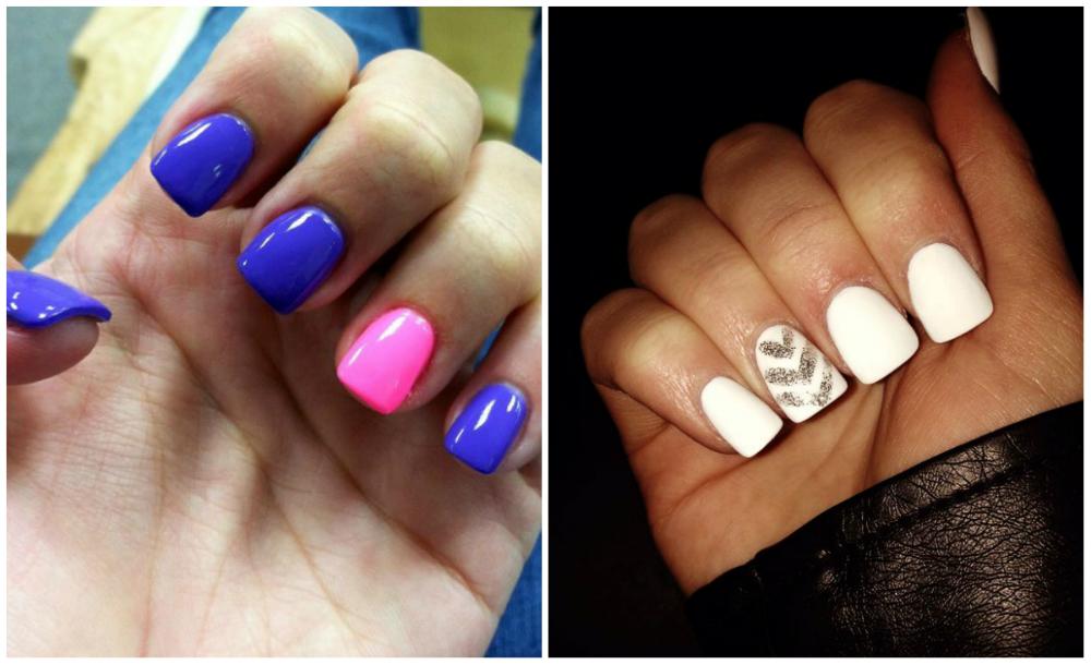 Белый и синий дизайн квадратных ногтей