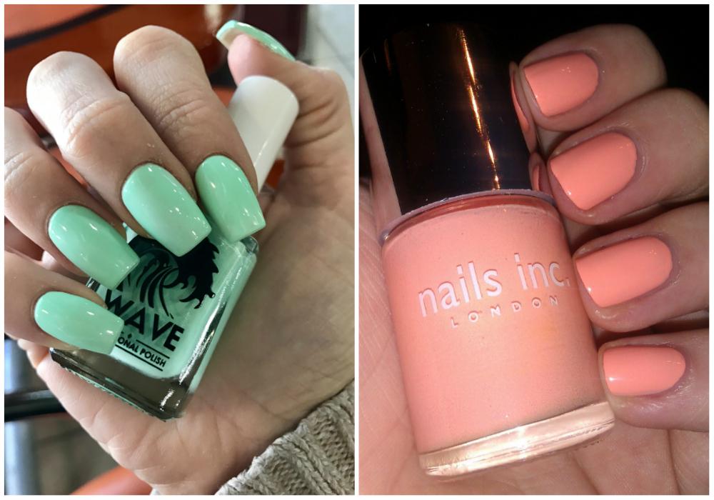 Розовые и мятные квадратные ногти 2020