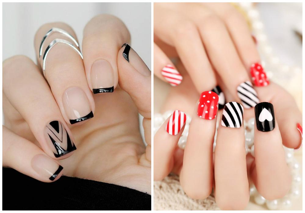 Красный и черный дизайн квадратных ногтей
