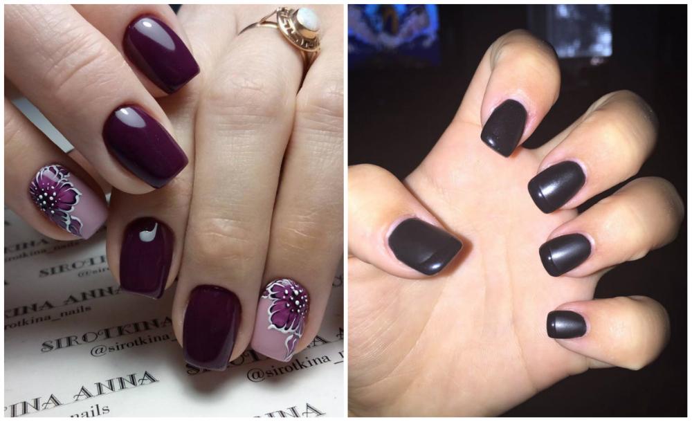 Черный и сливовый дизайн квадратных ногтей