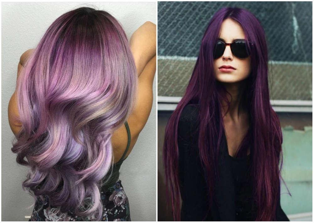 Окрашивание волос 2018 года в пурпурный и сливовый цвета