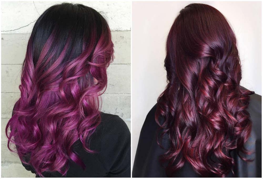 Фиолетовое трендовое окрашивание волос 2018 года для смелых модниц