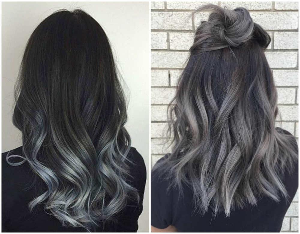 Окрашивание волос 2018 года в красивый и стильный угольный цвет