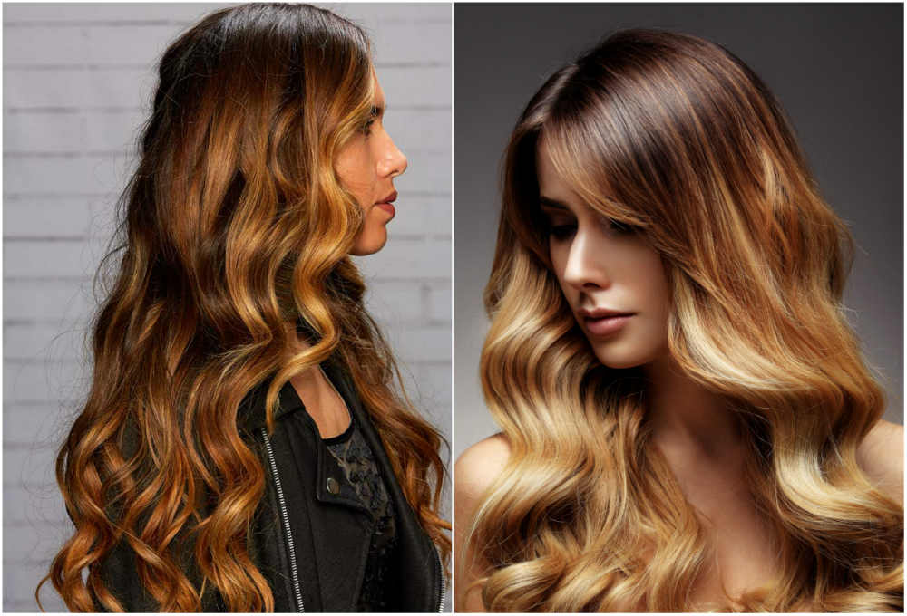 Красивое модное окрашивание волос в карамельный цвет