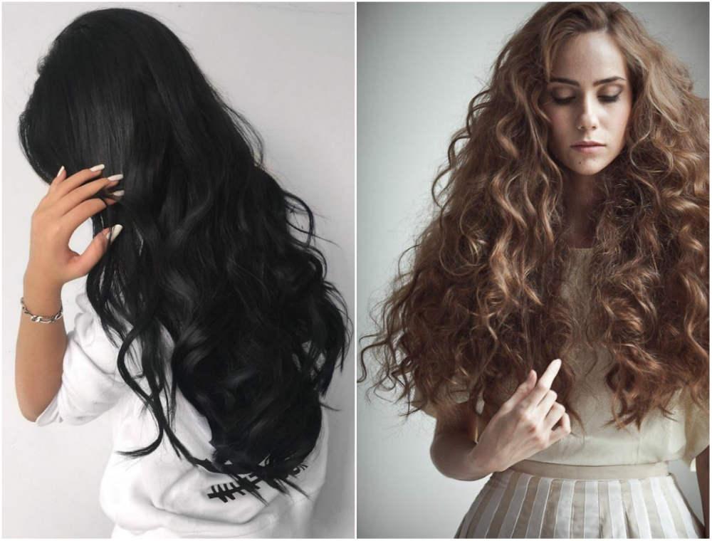 Модное окрашивание на длинные волосы с черным и светлым оттенками