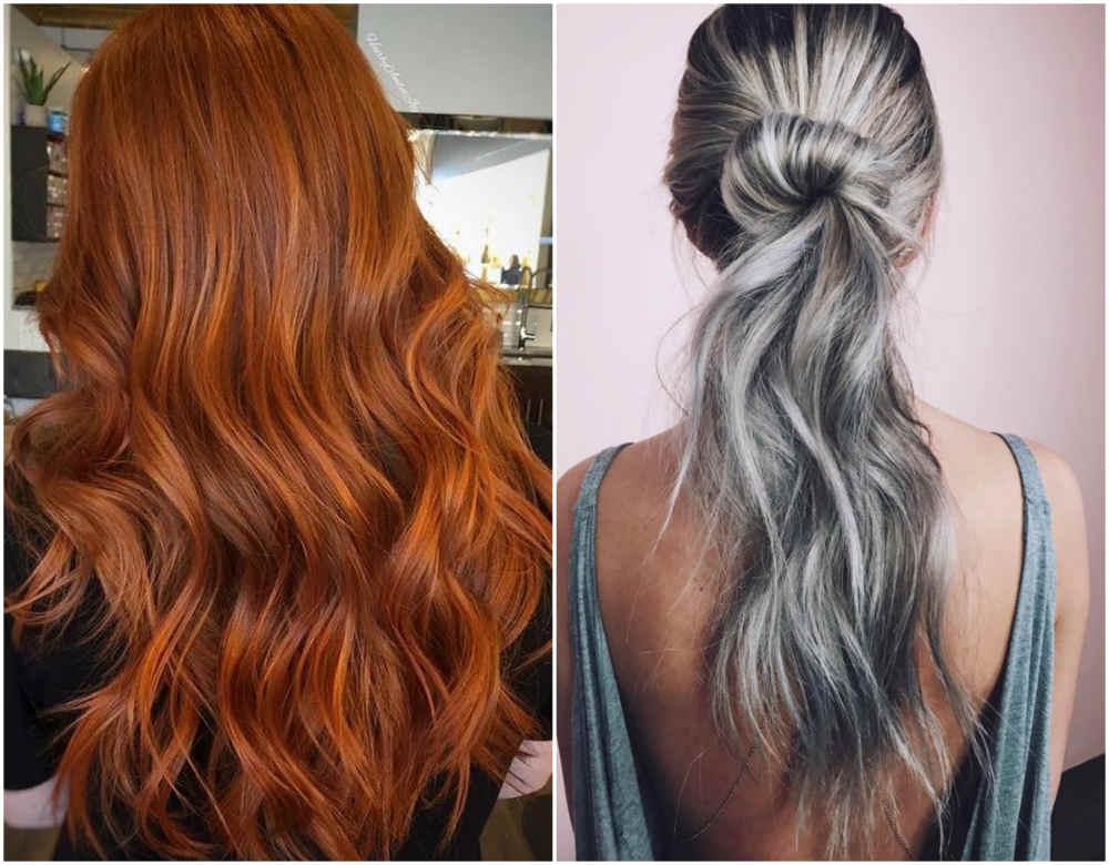 Окрашивание длинных волос 2020 в рыжий и серый цвета