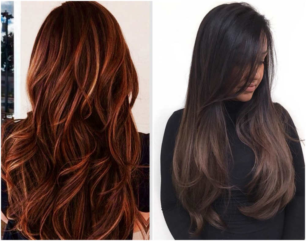 Модное окрашивание на длинные волосы с разными эффектами