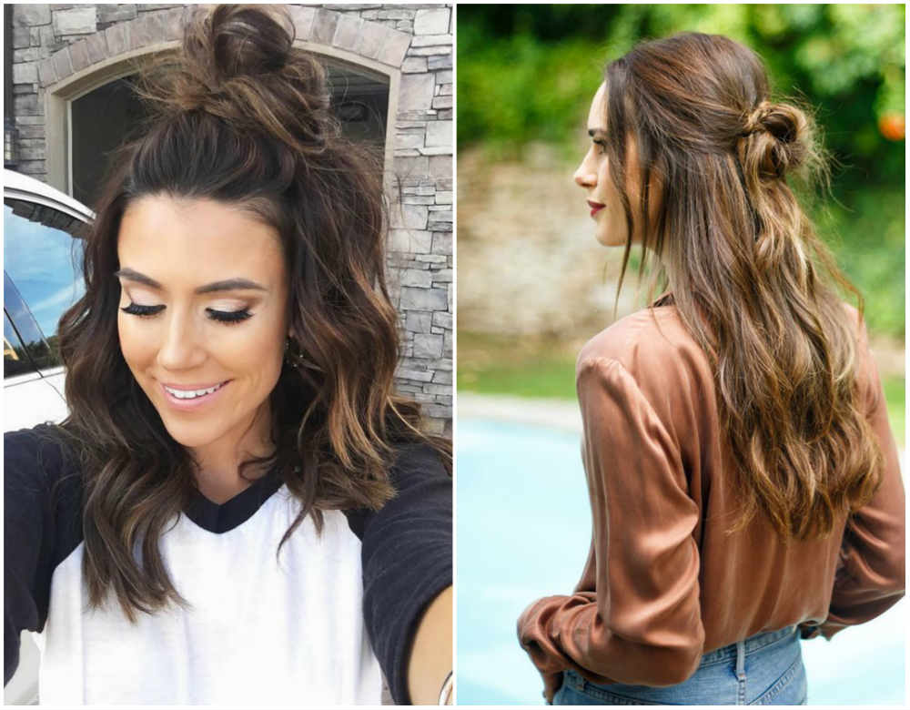 Прически на средние волосы 2020 с волнистым эффектом и пучком