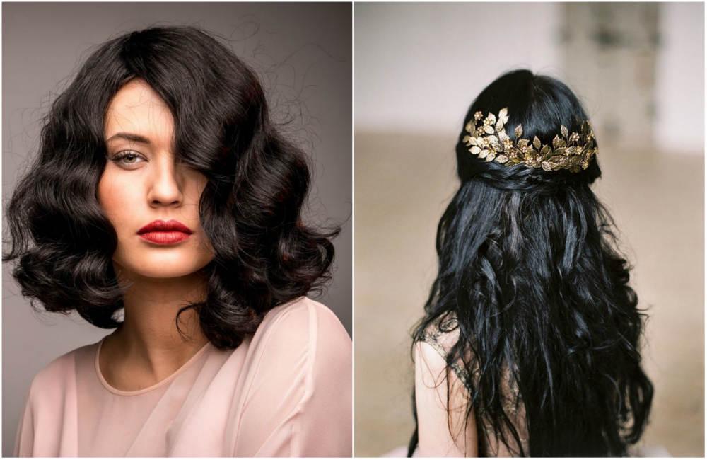 Прически на темные волосы 2020 с аксессуарами и волнистыми прядями