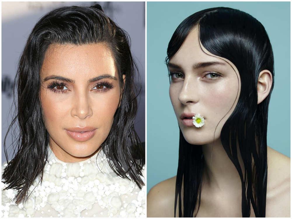 Ультрамодные прически на темные волосы 2020 с мокрым эффектом